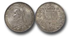 World Coins - MD1585 - Great Britain, Victoria (1837-1901), Silver Sixpence, 1887, UNC