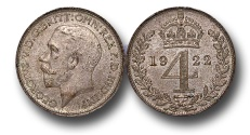 World Coins - EM156 – Great Britain,  George V (1910-1936), Silver Maundy Fourpence, 1922