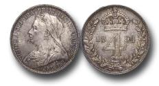 World Coins - MD1125 - Great Britain, Victoria   (1837-1901), Silver Maundy Fourpence, Old Head, 1894, AU, toned