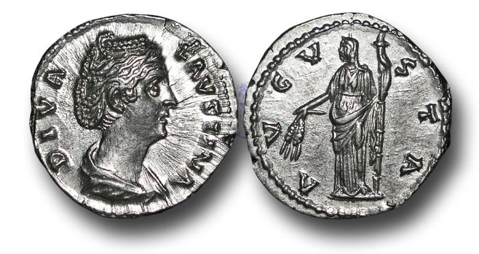 Ancient Coins - RPM58 - The Deified Faustina Senior, Wife of Antoninus Pius (Died A.D. 141), Silver Denarius, 3.42g., 18mm, Rome mint, struck after A.D. 147