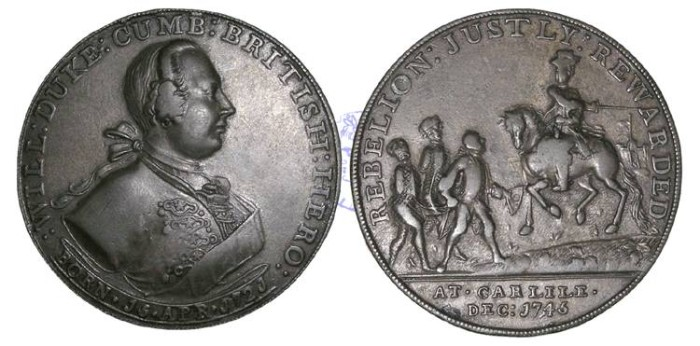 Ancient Coins - M46 - GREAT BRITAIN, JACOBITE, The 1745 Jacobite Rebellion, Carlisle Recaptured, 1745,  Bronze Medal, issued by Edward Pinchbeck