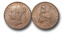 World Coins - EM60 - GREAT BRITAIN, Victoria   (1837-1901), Copper Farthing, 1838, raised WW on truncation