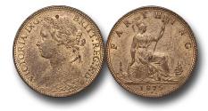 World Coins - EM145 - GREAT BRITAIN, Victoria   (1837-1901), Bronze Farthing, 1875 H, obverse B, reverse 1, broken E in REG, struck under contract by Ralph Heaton & Sons, Birmingham