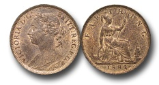 World Coins - EM344 -  	Great Britain,  Victoria   (1837-1901), Bronze Farthing, 1884