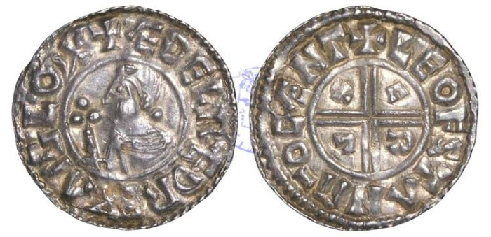Ancient Coins - H553 - ENGLAND, Aethelred II, the Unready (978-1016), Silver Penny, 1.48g., CRVX type (c.991-c.997), Canterbury - Leofstan