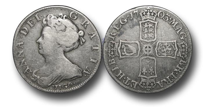 World Coins - MD656 - ENGLAND, Anne (1702-1714), Shilling, 5.88g., 26mm, 1703 VIGO