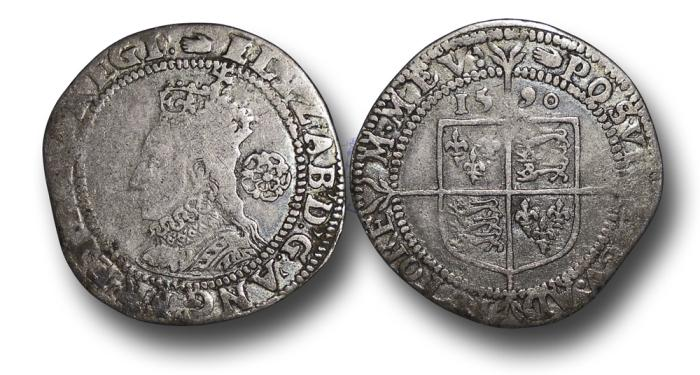 World Coins - H5322 - ENGLAND, Elizabeth I (1558-1603), Silver Sixpence, 2.92g., 26mm, Sixth issue, m.m. Hand, 1590