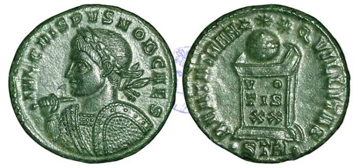 Ancient Coins - R990 - Crispus, as Caesar (A.D. 317-326), Bronze Folles, 2.78g., Treveri mint (Trier, Germany), second officina, A.D. 322-23