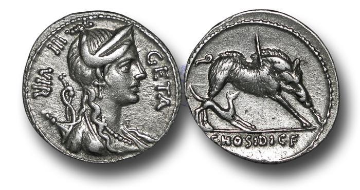 Ancient Coins - RPM51 - Roman Republic, C. Hosidius C.f. Geta (c.64 B.C.), Silver Denarius