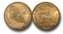 World Coins - EM328 -  Great Britain,  Victoria   (1837-1901), Bronze Farthing, 1860, Beaded Border