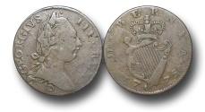 World Coins - EM170 - IRELAND, George III  (1760-1820), Copper Halfpenny, Contemporary Imitation, 1775