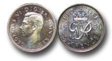 World Coins - EM513 - Great Britain, George VI (1936-1952), Proof Cupro-Nickel Sixpence, 1950