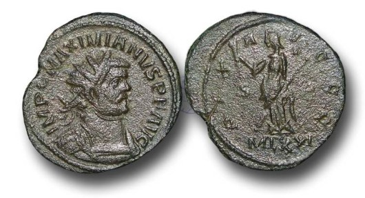 Ancient Coins - R6071 - The 'Romano-British Empire', Carausius (A.D.287-293) propaganda issue struck in the name of Maximianus, 1st reign, (A.D. 286-305), Bronze Antoninianus, 3.90g., London min