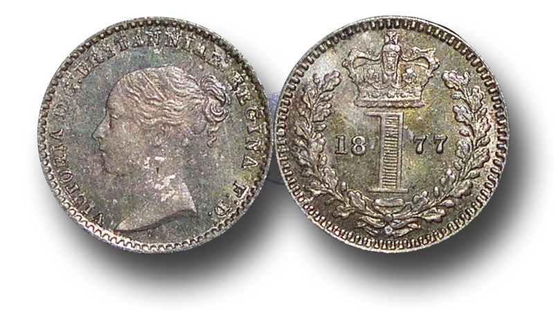 World Coins - EM388 - Great Britain, Victoria   (1837-1901), Silver Maundy Penny,  1877