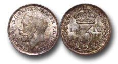 World Coins - EM354 – Great Britain,  George V (1910-1936), Silver Maundy Threepence, 1918