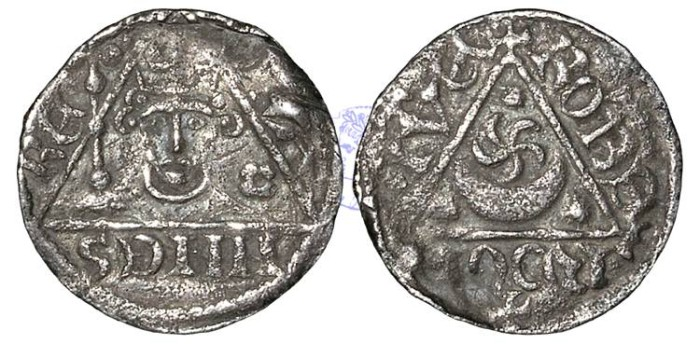 Ancient Coins - IR166 - IRELAND, John as Lord of Ireland, King of England (1172-1216), Penny, 1.27g., 3rd 'Rex' coinage (c.1207-1211),  Roberd - Dublin mint
