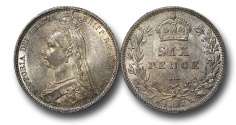 World Coins - EM530 - Great Britain, Victoria (1837-1901), Silver Sixpence, 1887