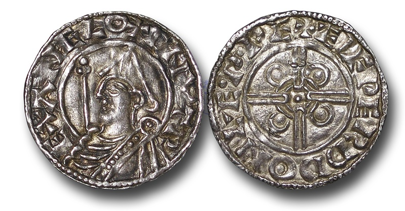 World Coins - TP8 - England, Anglo-Saxon, Cnut (1016-1035), Silver Penny, 1.13g., 19mm, Pointed Helmet type (1024 - 1030), Lewes - Ælfweard
