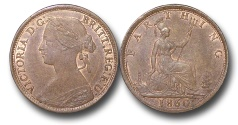 World Coins - EM623 - Great Britain, Victoria (1837-1901), Bronze Farthing, 1860, Toothed Border