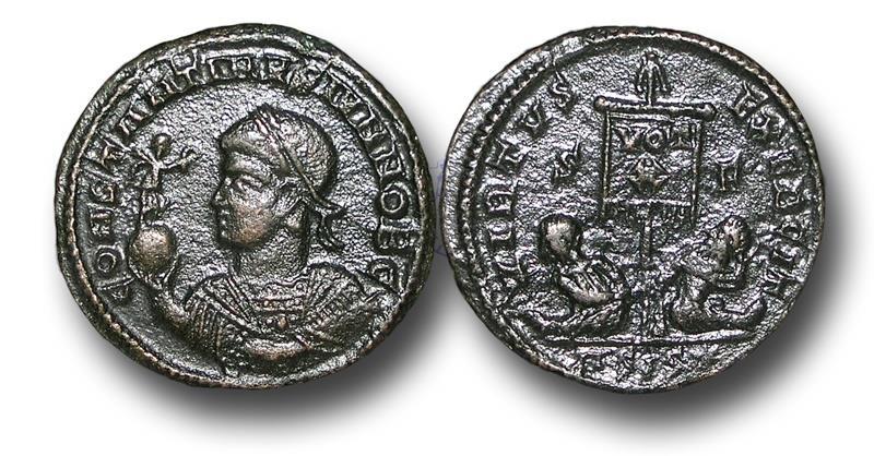 Ancient Coins - R16206 - Constantine II, as Caesar (A.D. 317-337),  Bronze Follis, 2.78g., 19mm, Siscia mint (Sisak, Croatia), 1st officina, struck A.D. 320