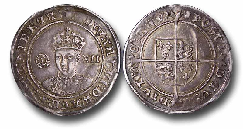 World Coins - TY21 - ENGLAND, 	Edward VI (1547-1553), Shilling, 5.82g., 33mm, Fine silver issue, m.m. Tun, 1551-1553