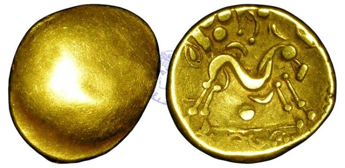 Ancient Coins - AB69 - BRITISH CELTIC, Imported Coinage, Gallo-Belgic E, Ambiani, Gallic War type (c.50 B.C.), Gold Stater, 6.11g.