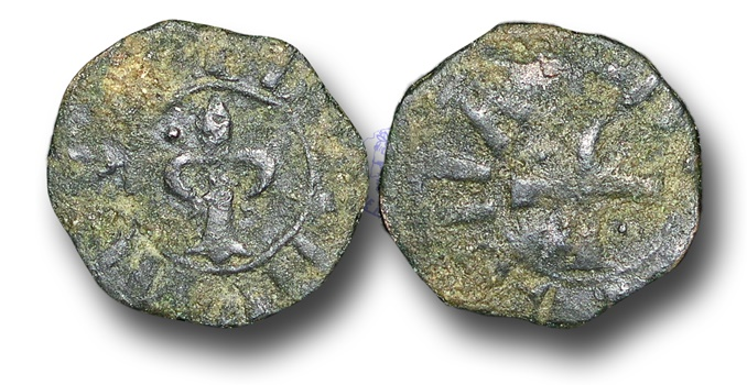 World Coins - CS34 - CRUSADER STATES, Principality of Antioch, Bohemond IV,  2nd Reign (1215-1250), Æ Pougeoise