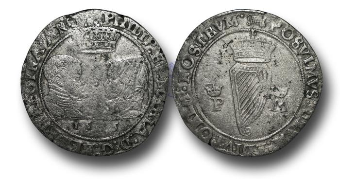 World Coins - IR1752 - IRELAND, Philip and Mary (1554-1558), Shilling, 8.97g., 34mm 1555, m.m. portcullis