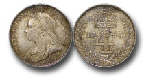 World Coins - EM364 - Great Britain, Victoria   (1837-1901), Silver Maundy Fourpence, Old Head, 1893