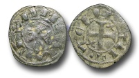 World Coins - ME633 - SPAIN, CASTILE and LEON, Alfonso I of Aragon, the Battler (1104-1134 A.D.), Billon Dinero, 0.63g., Toledo mint