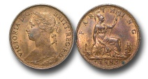 World Coins - EM134 - GREAT BRITAIN, Victoria   (1837-1901), Bronze Farthing, 1882 H, obverse B, reverse 1, broken F in F D, struck under contract by Ralph Heaton & Sons, Birmingham