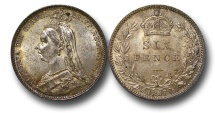 World Coins - EM644 - Great Britain, Victoria (1837-1901), Silver Sixpence, 1887