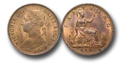 World Coins - EM134 - GREAT BRITAIN, Victoria   (1837-1901), Bronze Farthing, 1882 H, obverse B, reverse 1, broken F in F D, struck under contract by Ralph Heaton & Sons, Birmingham