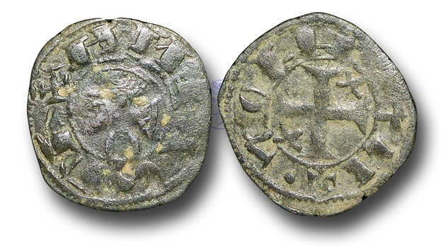 World Coins - ME633 - SPAIN, CASTILE and LEON, Alfonso I of Aragon, the Battler (1104-1134 A.D.), Billon Dinero, 0.63g., Toledo mint