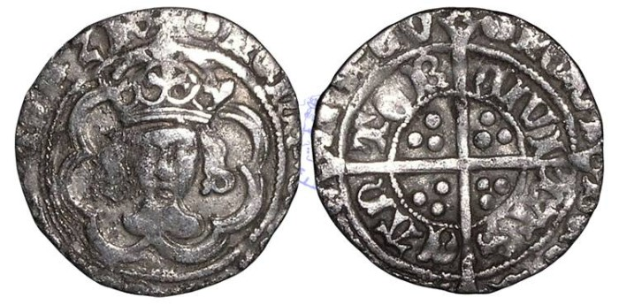 Ancient Coins - H959 - ENGLAND, TUDOR, HENRY VII (1485-1509), Halfgroat, 1.49g., Facing Bust issue, Canterbury mint, the King and Archbishop Morton jointly (1486-1500)