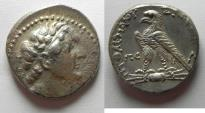Ancient Coins - Egypt. Ptolemaic kings.Ptolemy VI Philometor (first sole reign, 180-170 BC). AR tetradrachm (25mm, 14.15g). Uncertain Cypriot or Phoenician mint. Struck in era year 86 (177/6 BC).