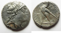 Ancient Coins - GREEK. Seleukid kings. Antiochos VIII Grypos (121/0-96 BC). AR tetradrachm (28mm, 12.37g) Ascalon mint. Struck in SE 205 (108/7 BC).