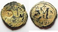 Ancient Coins - BYZANTINE. MAURICE TIBERIUS AE FOLLIS. COUNTERMARKED