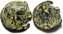 Ancient Coins - NABATAEAN KINGDOM ARETAS II OR III OVERSTRUCK ON PTOLEMY II (SIDON MINT?)AE COIN