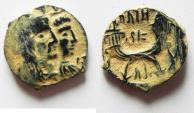 Ancient Coins - BEAUTIFUL AS FOUND ARETAS IV & SHAQUELAT AE 18