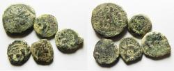 Ancient Coins - LOT OF 5 ANCIENT GREEK COINS AS FOUND, NABATAEN, JUDAEAN AND 1 PTOLEMAIC