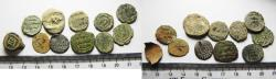 Ancient Coins - LOT OF 11 ISLAMIC BRONZE FALS COINS. MOSTLY UMMAYYED