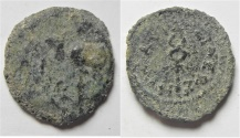 Ancient Coins - JUDAEA. HEROD I The GREAT, 40-4 BC. AE DOUBLE PRUTAH. Caduceus / Poppy. AS FOUND