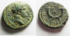 Ancient Coins - EARLIEST SIGNS OF CHRISTIANITY: DECAPOLIS. GADARA. TITUS. AE 19. WITH CROSS