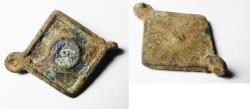 Ancient Coins - ANCIENT ROMAN BRONZE SEAL BOX COVER, GLASS INLAY.  200 - 300 A.D