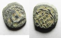 Ancient Coins - ORIGINAL DESERT PATINA: JUDAEA. NICE HASMONEAN AE PRUTAH
