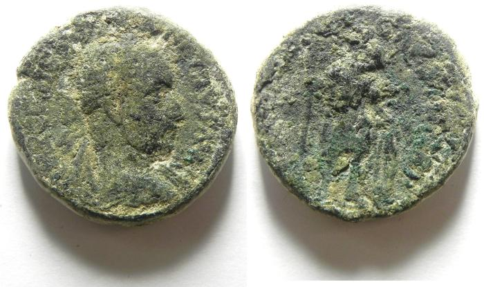 Ancient Coins - JUDAEA , SAMARIA , CAESAREA , MACRINUS? AE 28 , AS FOUND!!