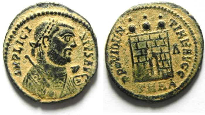 Ancient Coins - BEAUTIFULL LICINIUS I AE 3 , DESERT PATINA , CAMP GATE