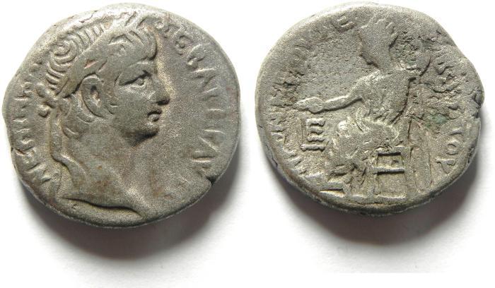 Ancient Coins - Egypt, Alexandria, Nero, AD54-68, Billon Tetradrachm, EMPEROR ENTHRONED