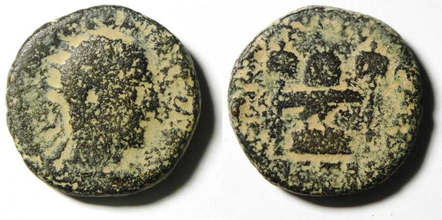 Ancient Coins - JUDAEA , SAMARIA , CAESAREA UNDER VOLOUSIAN , AE 25